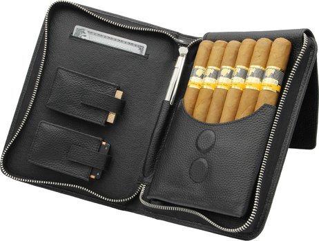 adorini Zigarrenetui Echtleder schwarzes Garn