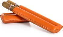 Reinhold Kühn Zigarrenetui für 2 Zigarren Nähte sichtbar orange