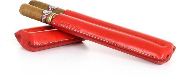 Reinhold Kühn Zigarrenetui für 2 Zigarren Nähte sichtbar rot
