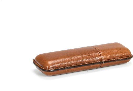 Martin Wess 934 Zigarrenetui für 2 Robustos Ziegenleder Havanna