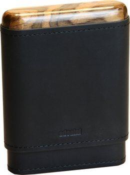 adorini Zigarrenetui für 3-5 Zigarren Leder schwarz Ober- und Unterseite Holz
