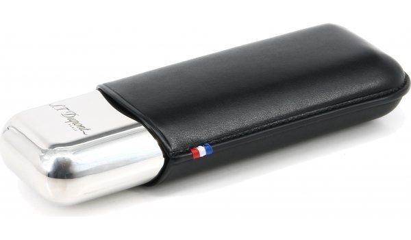 S.T. Dupont Zigarrenetui für 2 Zigarren Metall & Leder schwarz