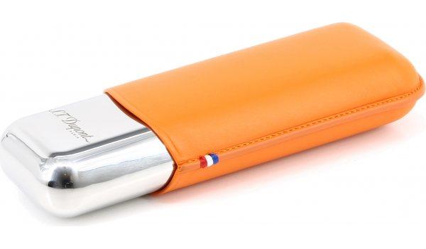 S.T. Dupont Etui aus Leder und Metall für für 2 Zigarren orange