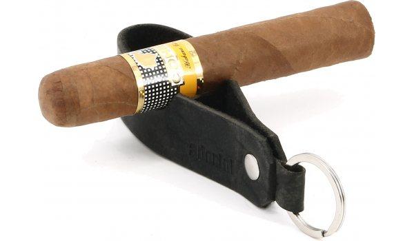 adorini Zigarren- und Pfeifenablage Echtleder Schlüsselanhänger schwarz