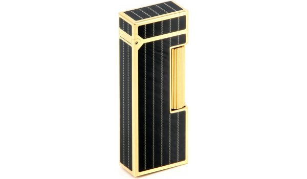 Dunhill Rollagas Nadelstreifen Kohlenschwarz Vergoldet