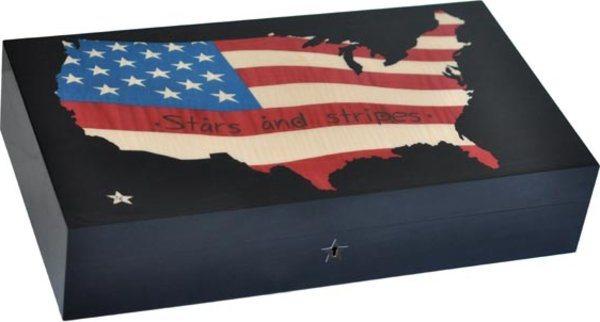 Elie Bleu Stars & Stripes Karte 110-Zigarren-Humidor