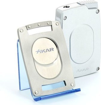 Xikar Laserfeuerzeug und Cutter Ultra slim silber